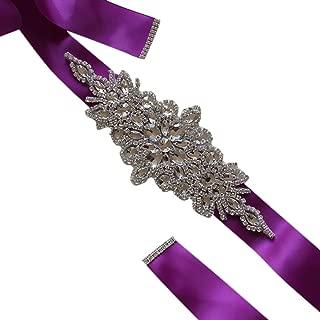 AUWU Wedding Ribbons Bridal Belt Dress Prom Crystal Sashes Evening Party Handmade Rhinestones Waistband