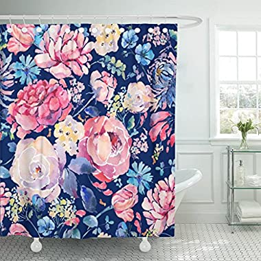 VaryHome Shower Curtain Bright Vintage Natural Floral Watercolor with Chrysanthemums Roses and Wildflowers Botanical on Navy Blue Waterproof Polyester Fabric 72 x 72 inches Set with Hooks