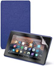 """Fire HD 8 Tablet (8"""" HD Display, 16 GB) - Black + Amazon Fire HD 8 Tablet Case, Cobalt Purple + NuPro Clear Screen Protector (2-Pack)"""