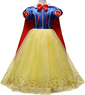 IWEMEK Kids Girls Snow White Princess Fancy Costume Dresses Up Cosplay Birthday Party Floor Length Dance Evening Gown