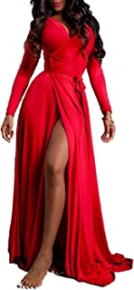Vivicastle Women's USA Sexy Long Sleeve Tulip Wrap Slit Front Full Long Maxi Dress