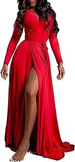 Women's USA Sexy Long Sleeve Tulip Wrap Slit Front Full Long Maxi Dress