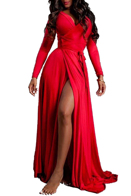 Red Dress - Women Sleeveless Deep V Neck Casual Cocktail Pencil Dress