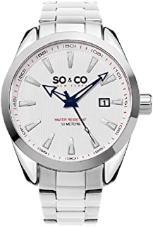 So & Co New York Madison Men's Quartz Watch with White Dial Analogue Display and Silver Stainless Steel Bracelet 5039B.3