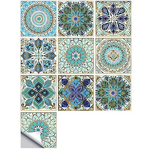CLISPEED 10Pcs Mosaico Pelar Y Pegar Pegatinas de Azulejos Calcomanía de Piso Autoadhesiva Impermeable para El Baño de La Cocina Backsplash (Color 9) 20Cm × 20Cm