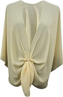 Womens Evening Shawl Wrap Sheer Chiffon Cape Rose Gold Scarf Ring Set