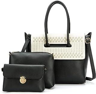 Vintage Women's Handbag 3 Piece Set Versatile Multi Piece Set (Color : E)