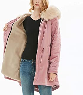 ADM6 Women's Medium Style Hooded Jacket, Warm Winter Down Coat with Fur Hood, Parka with 100% Faux Fur Puffer Jacket