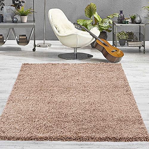 VIMODA Prime Shaggy Teppich Hochflor Langflor Teppiche Modern Einfarbig Nougat Hellbraun, Maße:40x60 cm