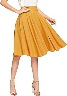 Women's Pleated High Waist Knee Length A Line Midi Skirt