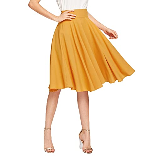 69f4b3fbb4946e Floerns Women's Pleated High Waist Knee Length A Line Midi Skirt