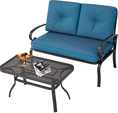 Oakmont Outdoor 2 Pcs Patio Loveseat Bench with Coffee Table Metal Furniture Set Sofa, Wrought Iron Look (Peacock Blue)