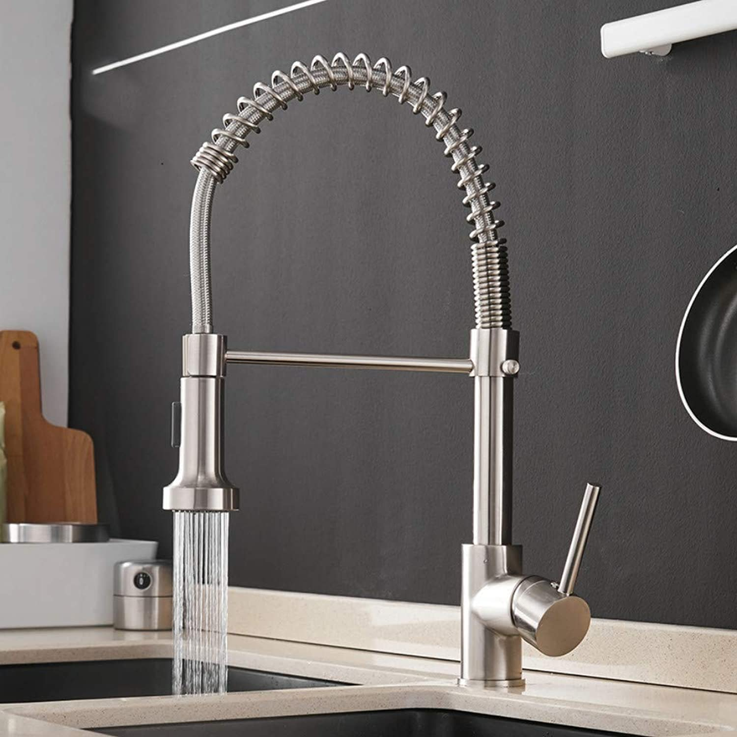 Ayhuir Kitchen Faucets Brush Brass Faucets for Kitchen Sink Single Lever Pull Out Spring Spout Mixers Tap Hot Cold Water Crane
