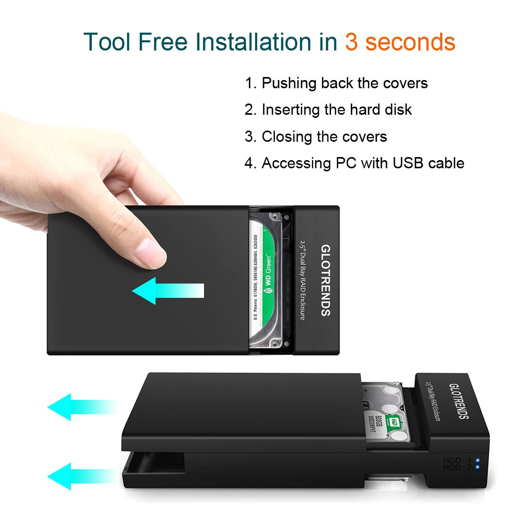 Externo SATA USB Caja Raid - GLOTRENDS 25R USB3.0 Tipo A Disco Duro Externo 2 bahía Raid Caja para HDD/SSD de 2,5 Pulgadas, Plástico ABS Caja Sin Disco Negro: Amazon.es: Electrónica