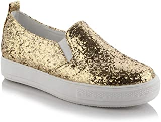 Bonrise Women's Fashion Flat Sneakers Low Top Glitter Increased Height Slip On Casual Platform Loafers Shoes