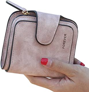 GEEAD Small Wallets for Women Leather Bifold Card Holder Purse Mini Coin Purse