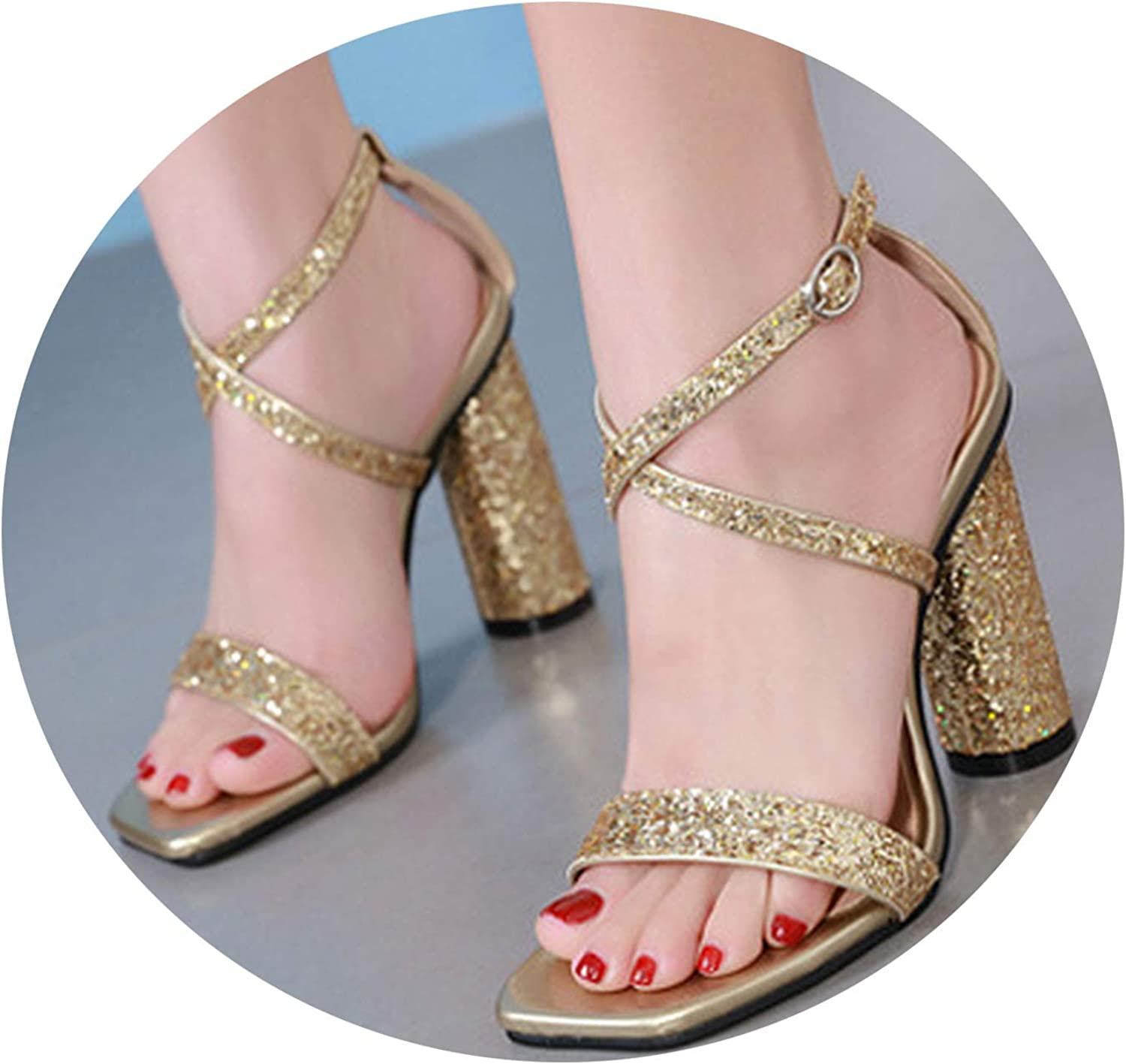 Fall for you-sandal Women Square Heels Sexy Models colors 2019 New Sandals Thick Sequins 15CM High Heel Sandals