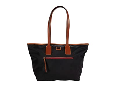 Dooney & Bourke Camden Fielding Tote (Black/Brandy Trim) Handbags