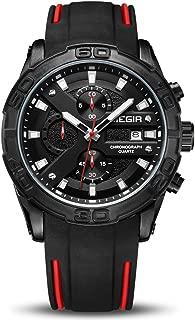 Men's Analogue Sport Quartz Wrist Watches with Soft Silicone Strap Chronograph Luminous Auto Calendar Waterproof Function 2055
