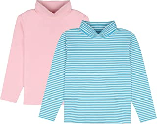 JIAHONG Unisex Kids 2-Pack Solid and Yarn Dyed Stripe Long-Sleeve Turtleneck T-Shirt for Boys or Girls (3-12Years)