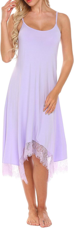MAXMODA Women's Long Full Slip Lace Adjustable Spaghetti Straps Cami Sleep Dress Nightwear