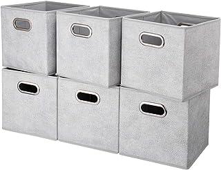 HSDT Boîte De Rangement, Gris | Points Blancs, Pliable, Tissu,27x27x28cm, Avec 2 Poignées En Métal, Compatible Avec l'orga...