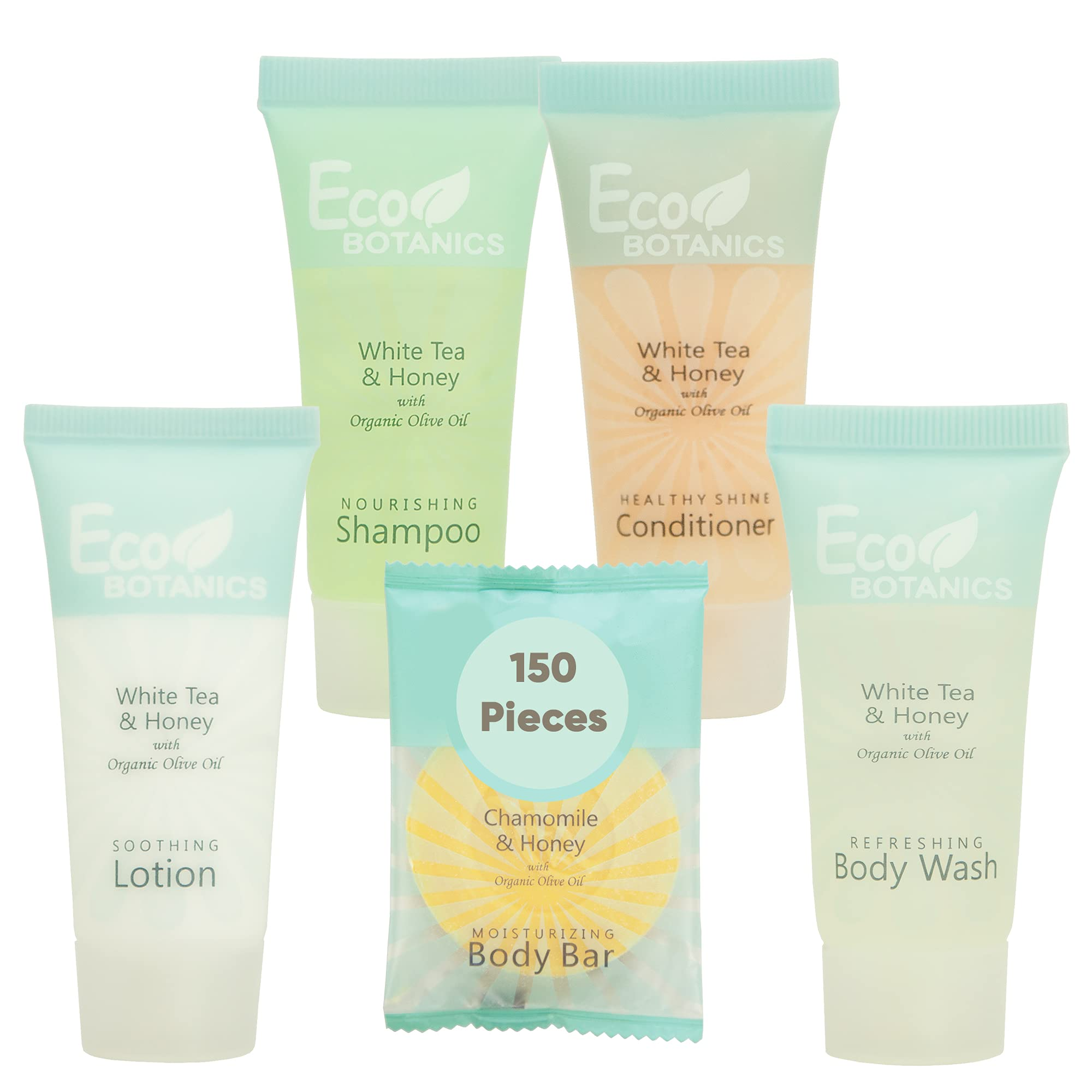 Eco Botanics Hotel Soaps and Toiletries Bulk Set | 1-Shoppe All-In-Kit Amenities for Hotels | 0.85oz Hotel Shampoo & Conditioner, Body Wash, Body Lotion & 0.89oz Bar Soap Travel Size | 150 Pieces