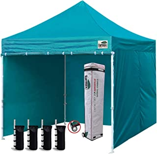Eurmax 10'x10' Ez Pop-up Canopy Tent Commercial Instant Tent with 4 Removable Zipper End Side Walls and Roller Bag, Bonus 4 SandBags(Turquoise)