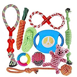 ★【tough dog toys】: safe and non-toxic cotton material, Three-needle sewing, knot encryption, will not be easily destroyed like other dog rope toys, But not completely indestructible! If you are passionate About quality, our toys will be your best cho...