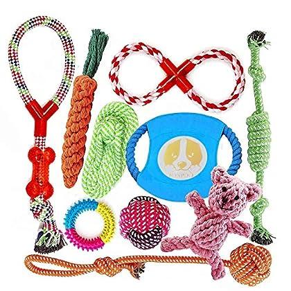 🍗 Hundespielzeug Unzerstörbar: Harmloser und langlebiger Material, Die Spielzeuge sind aus Nylon und Baumwolle besteht, harmlos und sicher, sind nicht leicht von Ihren Hunden gebrochen werden. 🍗 Interaktives Hundespielzeug: Das Spielzeug-Set umfasst ...