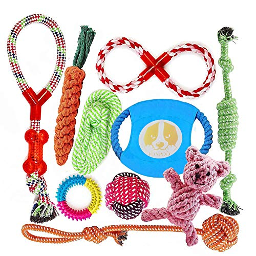 FONPOO Dog Rope Toys for Aggressive Chewers, Dog Tug Toy Set for Puppy Teething Dog Chew Rope Toys for Small to Medium Dogs | Best Gifts for Dog Set 10 Pack