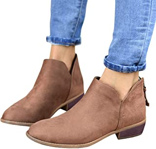 Gibobby Ankle Booties for Women Flat Heel,Women's Round Toe Faux Suede Stacked Heel Side Zipper Western Shoes Ankle Boots