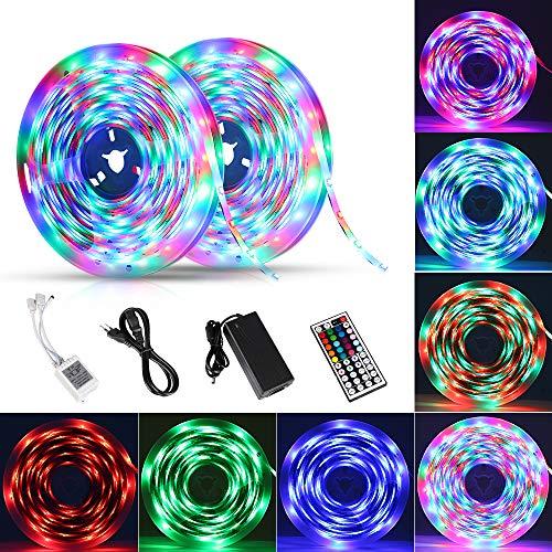 Etmury LED Streifen 10M(2x5M) RGB LED Strip 5050 SMD 300(2x150) Lichtband IP65 Wasserdicht mit Netzteil 44-Tasten IR Fernbedienung selbstklebend Kit für Innen außen Beleuchtung Deko