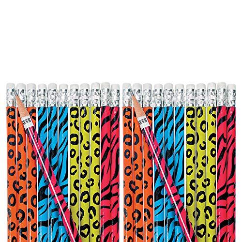 Fun Express Neon Animal Print Pencils (Set of 24) Bulk School Supplies