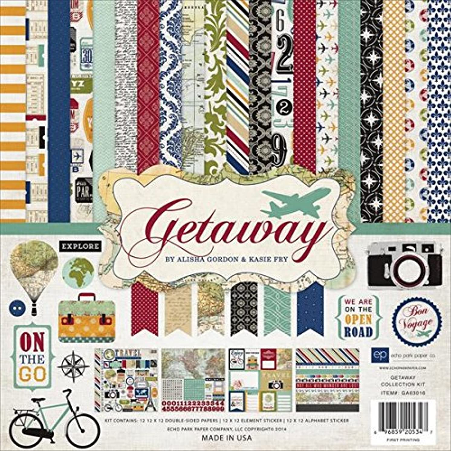 Echo Park Paper Company GA63016 Getaway Collection Scrapbooking Kit