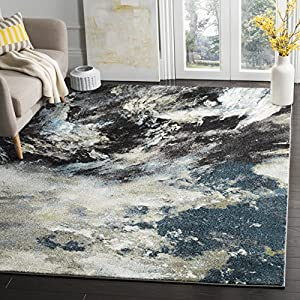 Safavieh Glacier Collection GLA123B Modern Abstract Non-Shedding Stain Resistant Living Room Bedroom Area Rug, 4′ x 6′, Blue / Multi