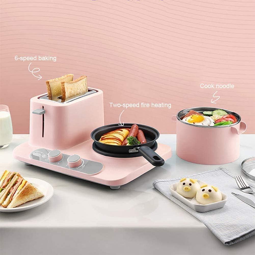 BZZBZZ Mini Grille-Pain 2 tranches - Machine à Petit-déjeuner en Acier Inoxydable 3-en-1, poêle à Omelette multifonctionnelle poêle à Nouilles électrique A