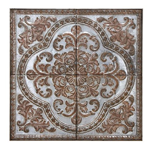 Deco 79 55472 Metal Wall Plaque, 36' H x 36' L, Rusted Gray Finish