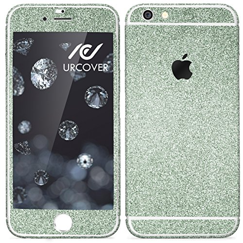 Urcover® Glitzer-Folie zum Aufkleben kompatibel mit Apple iPhone 7 Plus Folie in Grün   Zubehör Glitzerhülle Handyskin Diamond Funkeln Schutzfolie Handy-Schutz Bling Glamourös