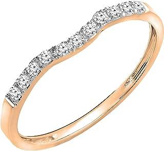 Dazzlingrock Collection - Anillo de boda apilable con diamantes blancos redondos de 0,15 quilates, oro de 14 quilates