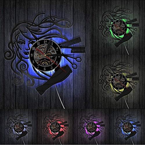 TIANZly Horloges murales en Vinyle Salon de beauté Disque Vinyle Horloge Murale Cheveux Styliste Salon de Coiffure Salon de Coiffure à la Main Horloge Salon de Coiffure pour Femme sans lumière