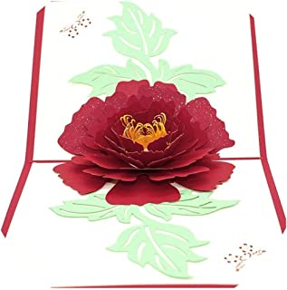 Peony 3D Pop UP Card Birthday Gift with envelope sticker Flower laser cut invitation Greeting Card postcard kirigami mothers day,WHITE