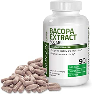 Bronson Bacopa Monnieri Extract 500 mg - Promotes Mental Clarity and Brain Function - Non GMO, 90 Vegetarian Capsules
