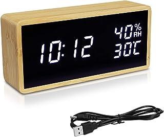 Navaris Reloj Digital de Madera con conexión USB y LED - Despertador con 3 alarmas indicador de Humedad y Temperatura - marrón Claro Blanco