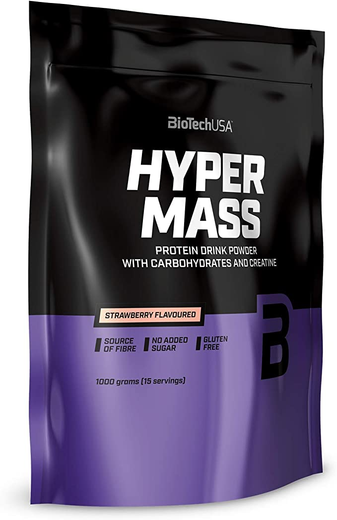 BioTechUSA Hyper Mass Bebida en polvo con carbohidratos, proteína y creatina, alto contenido de fibra dietética, sin azúcar añadido, 1 kg, Vainilla