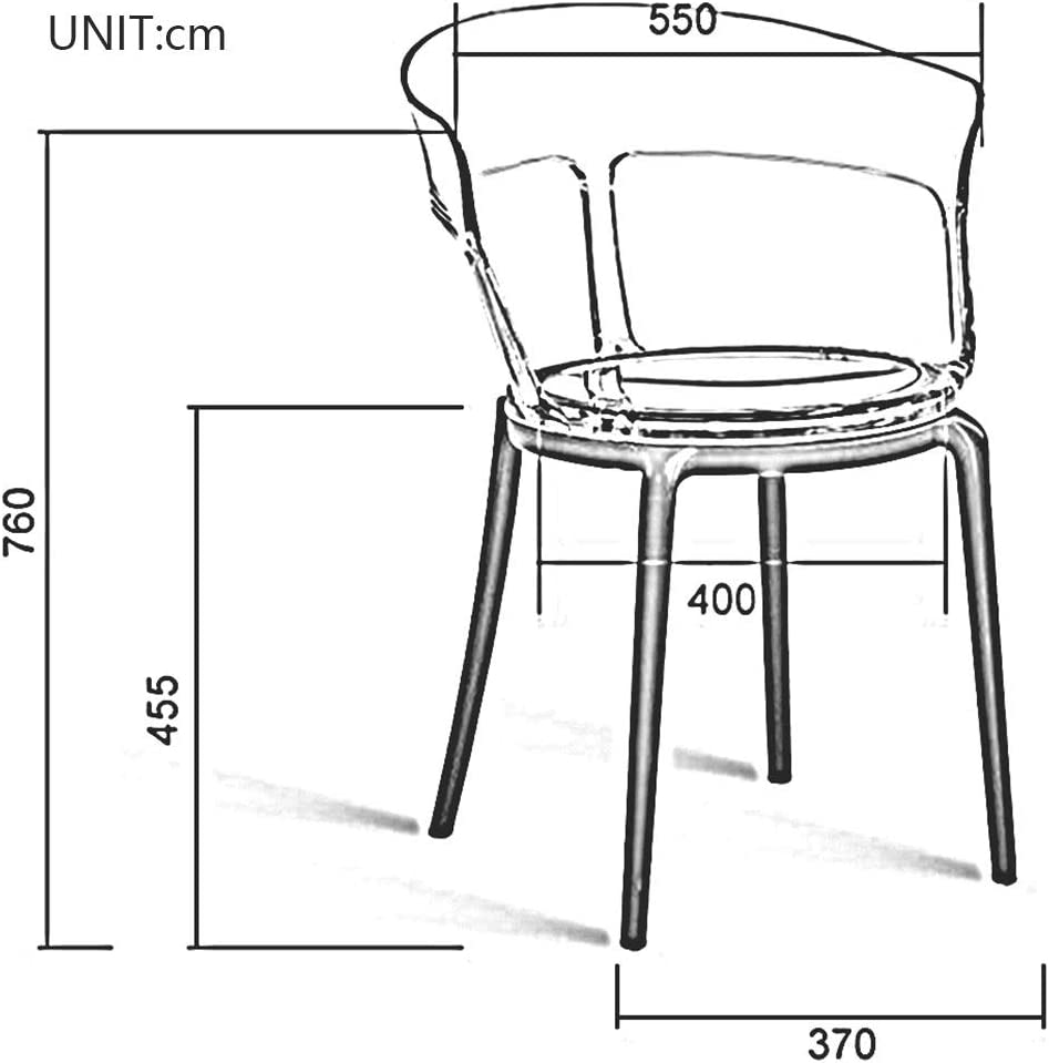 DALL Chaise De Salle À Manger Création Nordique Chaise en Plastique Transparent Chaise De Table De Loisirs Chaise De Café Facile À Assembler (Color : T2) T3