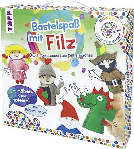 Rundum Kunterbunt Bastelspaß mit Filz: Bastelkoffer mit Anleitung und Material für 20 Filzfiguren mit illustriertem Puppentheater-Aufsteller