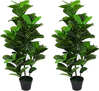 Leisure 3.5 ft Artificial Fiddle Leaf fig Tree Indoor/Outdoor UV Resistant,Set of Two in a Brown Plastic Pot, Green