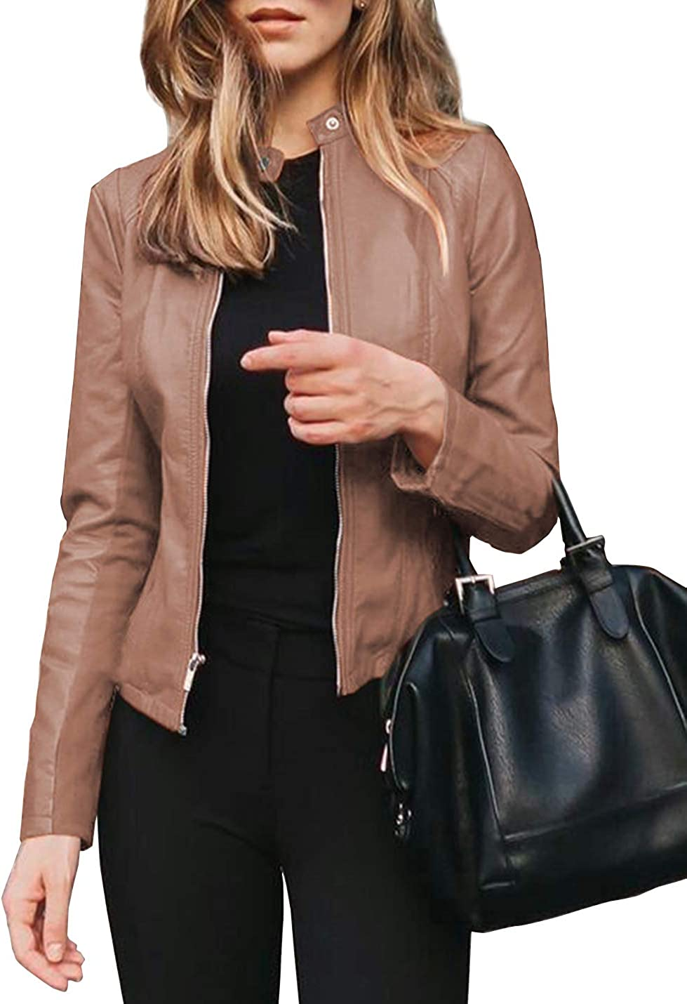 Locachy Women's Faux Leather Zip Up Bomber Motorcycle Biker Jacket