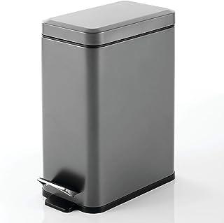mDesign rechthoekige pedaalemmer met een inhoud van 10 L – compacte prullenbak met binnenemmer voor de badkamer, keuken of...